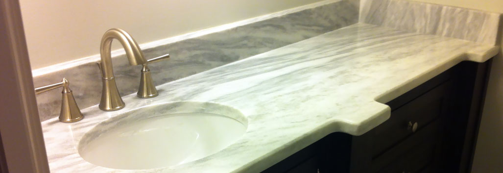 quartz and Porcelain vanity sink and bathroom countertops